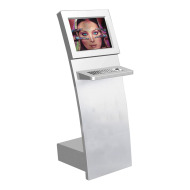 Slim Information Internet Kiosk With Infrared Touch Screen And Metal Keyboard