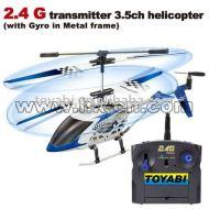 2.4g transmisor de radio 3.5ch metal rc helicóptero con el girocompás