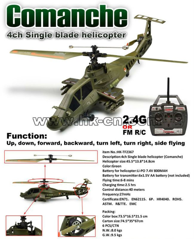 Solo 4ch airscrew cuatro canales helicóptero( comanche)