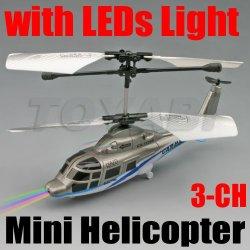 Mini rc 3- canal hélicoptère avec la lumière led