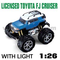 Toyota spielzeugauto modell, toyota fj cruiser 1:26 skala lizenziert und mit 4 farben led leuchtet