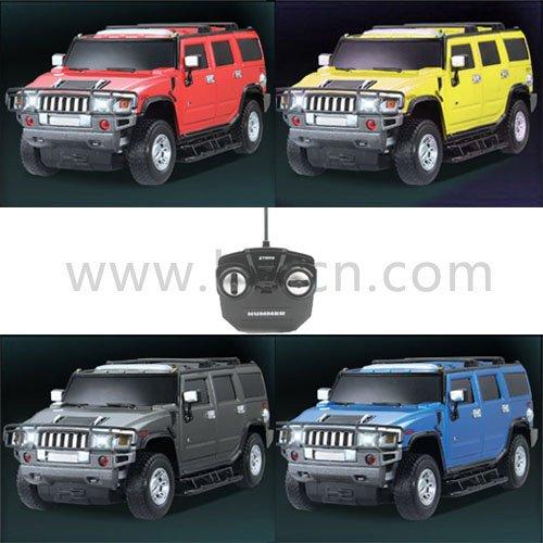Negro 1:26 escala rc con licencia de coches hummer h2 con luces led y 4 colores