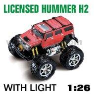 1:26 échelle rc licence voiture hummer h2 avec des lumières led rouge
