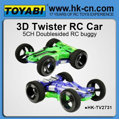 même conception de silverlit 3d twister voiture double side car racer retourner
