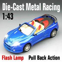 Escala 1:43 diecast coches con tire hacia atrás de acción