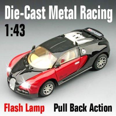 1:43 die- voiture fonte, métal super voiture de course jouets avec des lumières led
