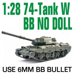 1:28 rc escala 74- tanque con tiro 6mm bb bala