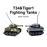 Real Life T34&Tiger1 Mini Fighting RC Tanks
