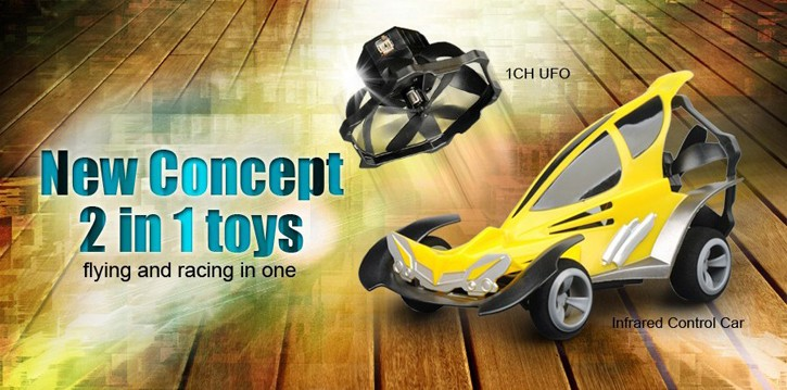 Wholesales 1CH UFO and racing cars 2 in 1 RC toys HK-TV2898-7