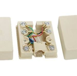RJ45 unshielded Modular Single Port Surface Mount box yellow
