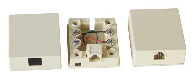 RJ11 Modular Single Port Surface Mount Box