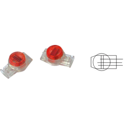 UR 3 Wire IDC Buttsplice connector 19-26 AWG - Red - Gel Filled