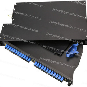 1U 2U Rotatable Rack Mount Patch Panel Max 96 Cores Metal material