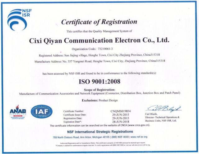 ISO9001:2008 Quality Control System