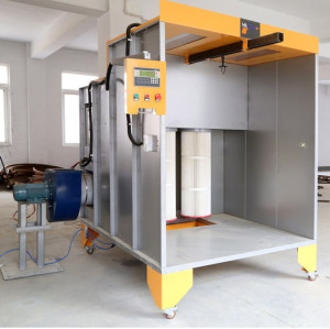 cartridge-filter Manual Powder coating spray booth for coating wheels and cycle frames