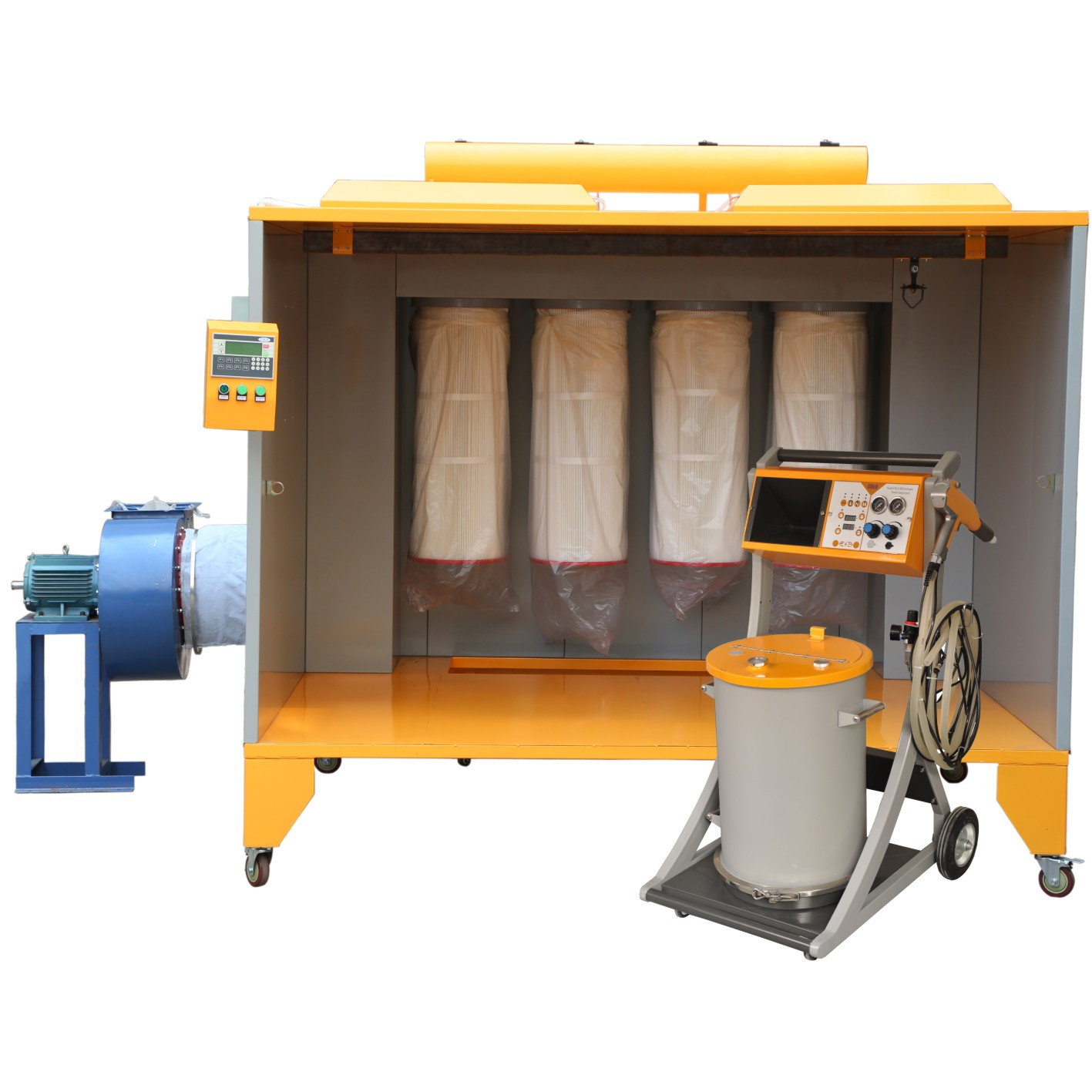 High Pressure Spray Booth : Electrostatic manual powder coating booth with