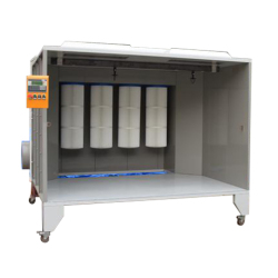 cartridge-filter Manual Powder spray booth for coating wheels and cycle frames