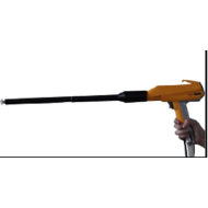 Electrostatic coating gun with extension nozzle