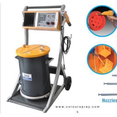 Electrostatic manual powder coating set with long spray nozzles