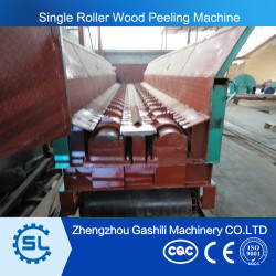 high efficient single roller wood skin peeling machine