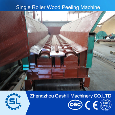 high efficient single roller wood skin peeling machine