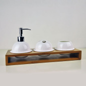 Ceramic Bathroom Set with Bamboo Caddy