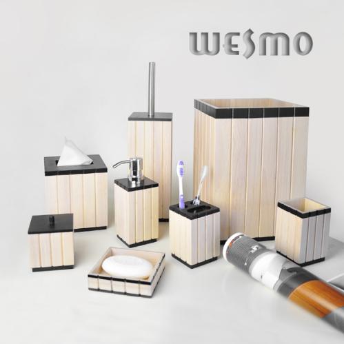Set salle de bain en bois accessoires de salle de bains for Accessoire salle de bain bois