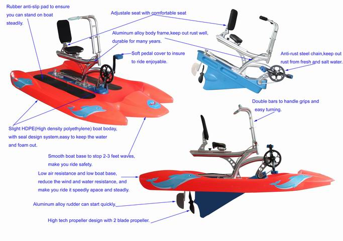 3 Person Water Bikes Wholesale China Water Pedal Bike Supplier