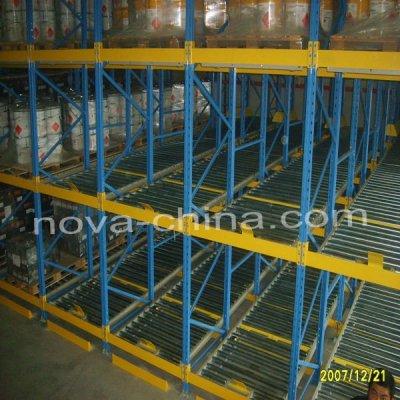 Storage pallet flow gravity racking