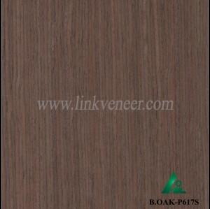 B.OAK-P617S, engineered face veneer /0.3mm black colour oak veneer /artificial wood veneer