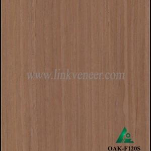OAK-F120S, Engineered straight grain dark oak wood veneer