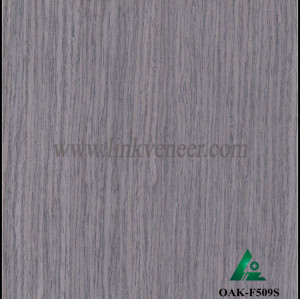 OAK-F509S, Engineered straight grain gray oak wood veneer