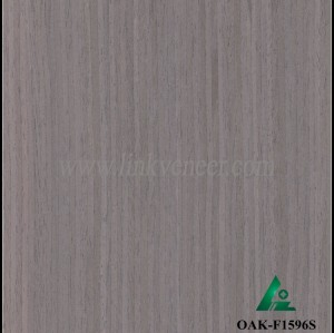 OAK-F1596S, Engineered straight grain black oak wood veneer
