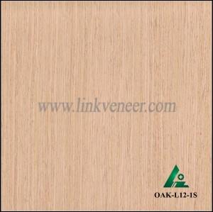 OAK-L12-1S, Engineered straight grain white oak wood veneer