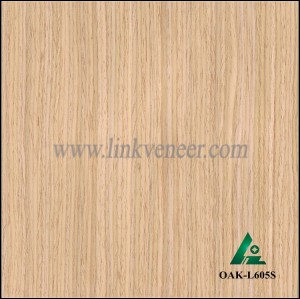OAK-L605S, Engineered straight grain white oak wood veneer