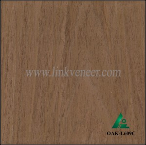 OAK-L609C, Engineered crown cut dark oak wood veneer