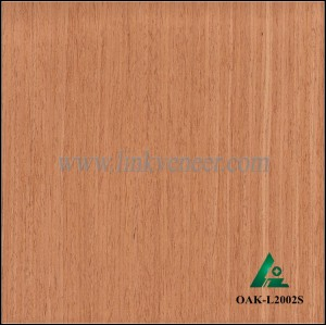 OAK-L2002S, Engineered straight grain red oak wood veneer