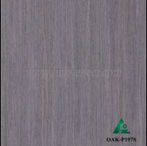 OAK-P197S, Engineered straight grain gray oak wood veneer