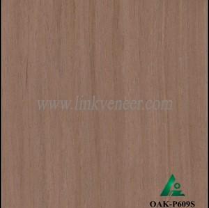 OAK-P609S, Engineered straight grain dark oak wood veneer
