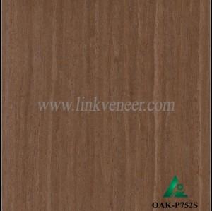 OAK-P752S, Engineered straight grain dark oak wood veneer