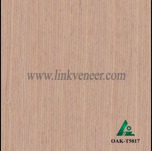 OAK-T5017, Engineered straight grain red oak wood veneer