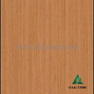 OAK-T5080, Engineered straight grain yellow oak wood veneer