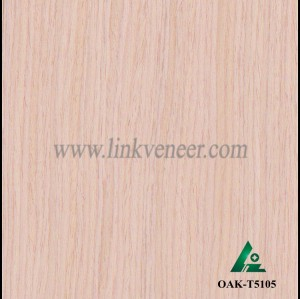 OAK-T5105, Engineered straight grain red oak wood veneer