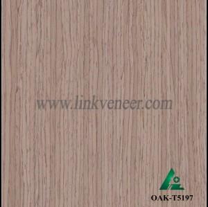OAK-T5197, Engineered straight grain dark oak wood veneer