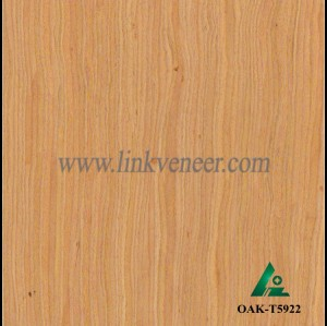 OAK-T5922, Engineered straight grain yellow oak wood veneer