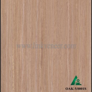 OAK-Y0001S, Engineered straight grain oak wood veneer
