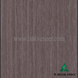 W.BOAK-F001S, Engineered washed black oak wood veneer for hotel decoration