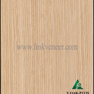 Y.OAK-P113S, Manufacturer supply engineered white oak veneer with crown design for door face and furniture face