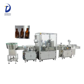 Automatic small glass bottle liquid filling capping and labeling machine