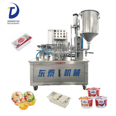 rotary small cup filling sealing machine for yoghurt liquid cream jelly